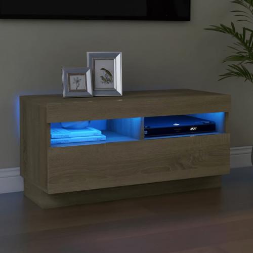 vidaXL TV-bänk med LED-belysning sonoma-ek 80x35x40 cm