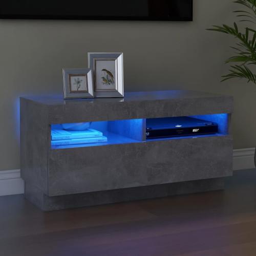 vidaXL TV-bänk med LED-belysning betonggrå 80x35x40 cm