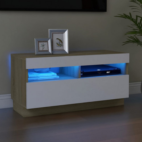 vidaXL TV-bänk med LED-belysning vit och sonoma-ek 80x35x40 cm