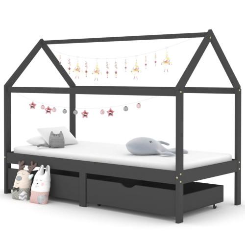 vidaXL Barnsäng med låda mörkgrå massiv furu 90x200 cm