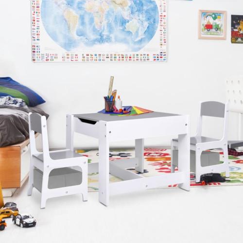 vidaXL Barnbord med 2 stolar vit MDF