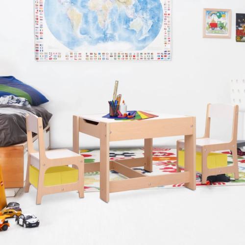 vidaXL Barnbord med 2 stolar MDF
