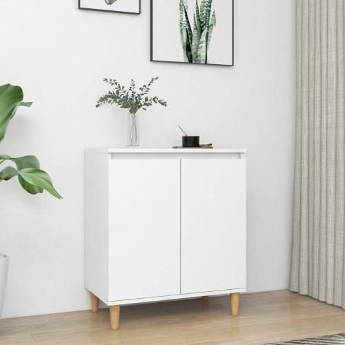 vidaXL Skänk massiva träben vit 60x35x70 cm spånskiva