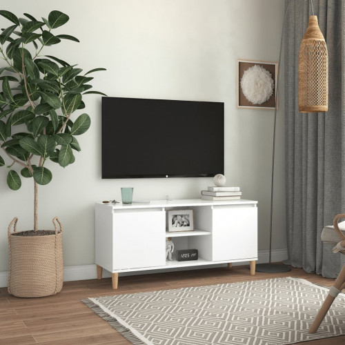 vidaXL TV-bänk med massiva ben vit 103,5x35x50 cm