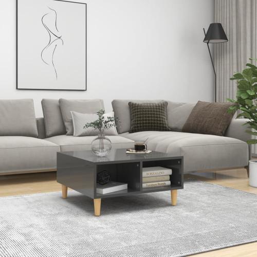 vidaXL Soffbord grå högglans 60x60x30 cm spånskiva
