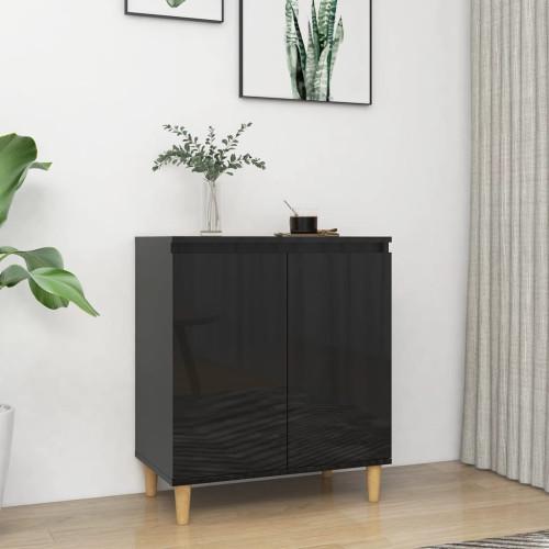 vidaXL Skänk massiva träben svart högglans 60x35x70 cm spånskiva