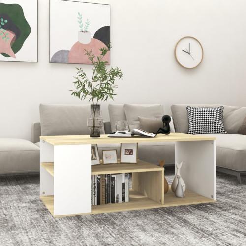 vidaXL Soffbord vit och sonoma-ek 100x50x40 cm spånskiva