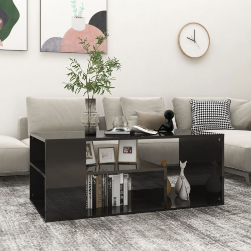 vidaXL Soffbord svart högglans 100x50x40 cm spånskiva