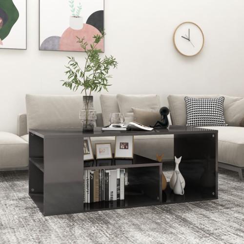 vidaXL Soffbord grå högglans 100x50x40 cm spånskiva
