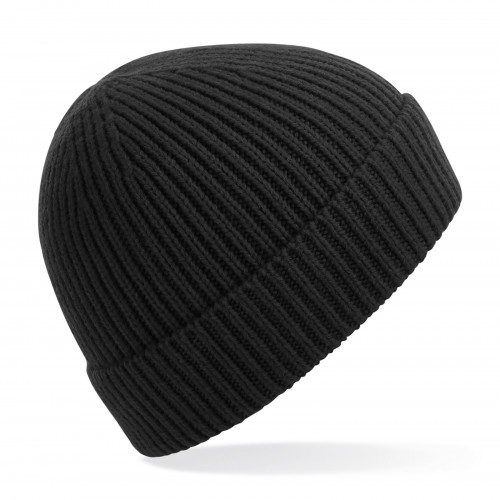 Beechfield Engineered Knit Ribbed Beanie Black