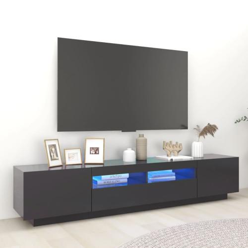 vidaXL TV-bänk med LED-belysning grå 200x35x40 cm