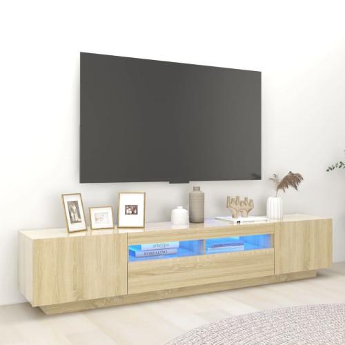 vidaXL TV-bänk med LED-belysning sonoma-ek 200x35x40 cm