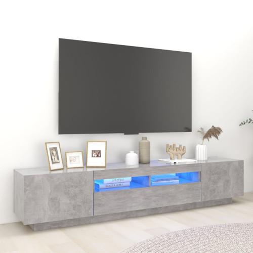 vidaXL TV-bänk med LED-belysning betonggrå 200x35x40 cm