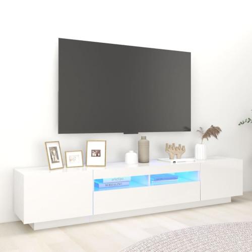 vidaXL TV-bänk med LED-belysning vit högglans 200x35x40 cm
