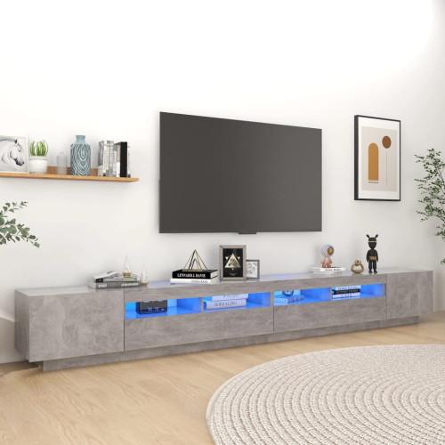 vidaXL TV-bänk med LED-belysning betonggrå 300x35x40 cm