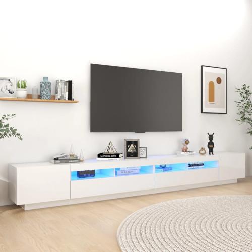 vidaXL TV-bänk med LED-belysning vit högglans 300x35x40 cm