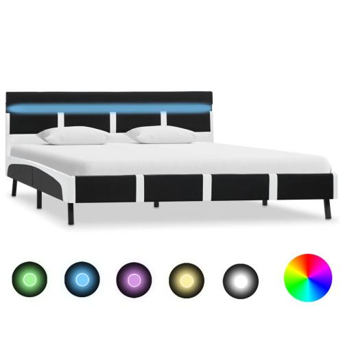 vidaXL Sängram med LED svart och vit konstläder 150x200 cm