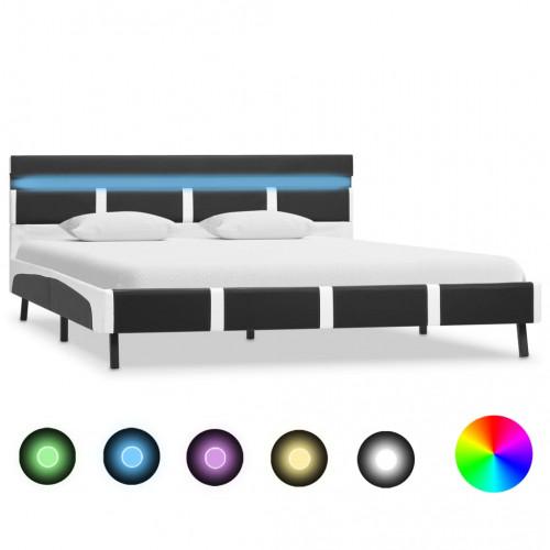 vidaXL Sängram med LED grå och vit konstläder 135x190 cm
