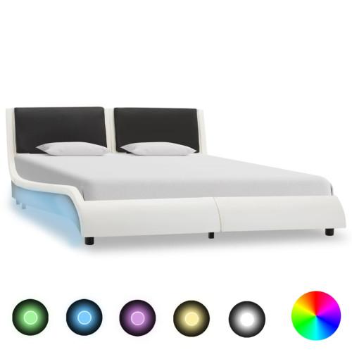 vidaXL Sängram med LED vit och svart konstläder 135x190 cm