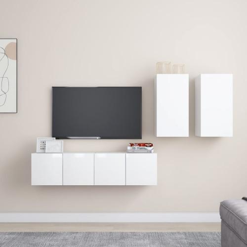 vidaXL TV-skåp 4 delar vit högglans spånskiva