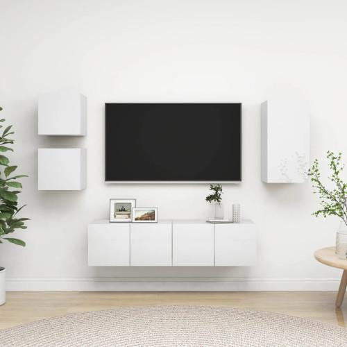vidaXL TV-skåp 5 delar vit högglans spånskiva