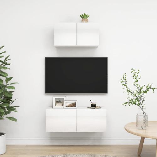 vidaXL TV-skåp 2 delar vit högglans spånskiva