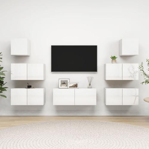 vidaXL TV-skåp 7 delar vit högglans spånskiva