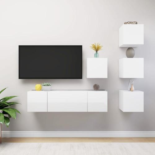 vidaXL TV-skåp 6 delar vit högglans spånskiva