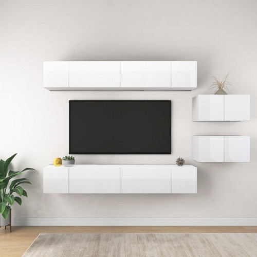 vidaXL TV-skåp 8 delar vit högglans spånskiva