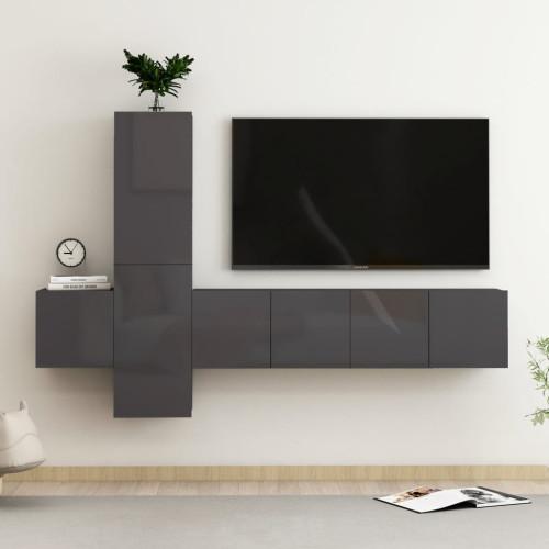vidaXL TV-skåp 5 delar grå högglans spånskiva