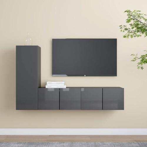 vidaXL TV-skåp 3 delar grå högglans spånskiva