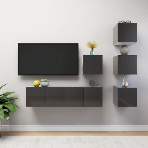 vidaXL TV-skåp 6 delar grå högglans spånskiva