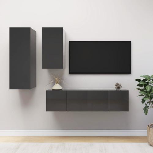 vidaXL TV-skåp 4 delar grå högglans spånskiva