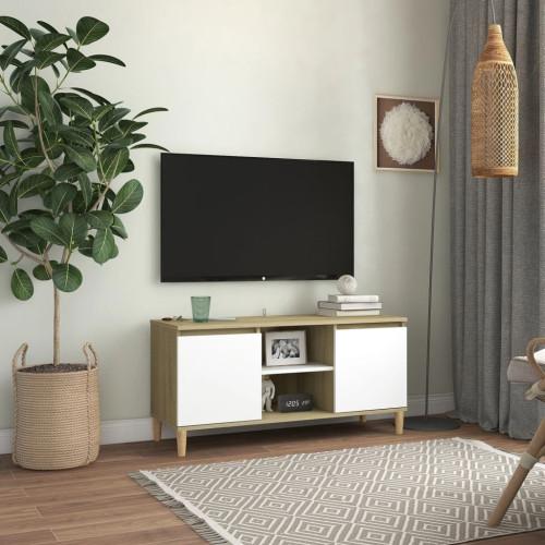 vidaXL TV-bänk med massiva ben vit och sonoma-ek 103,5x35x50 cm