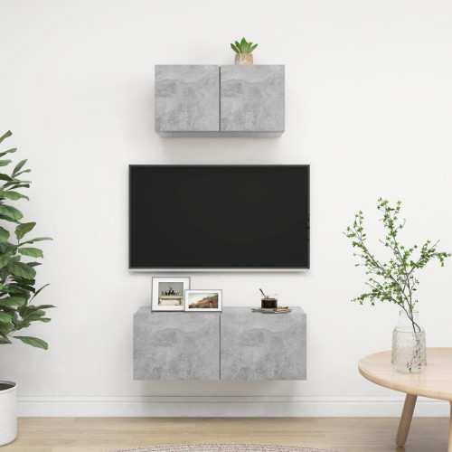 vidaXL TV-skåp 2 delar betonggrå spånskiva