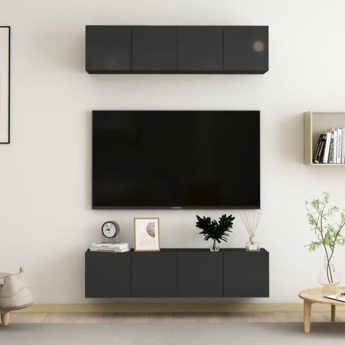 vidaXL TV-skåp 4 delar svart högglans 60x30x30 cm spånskiva