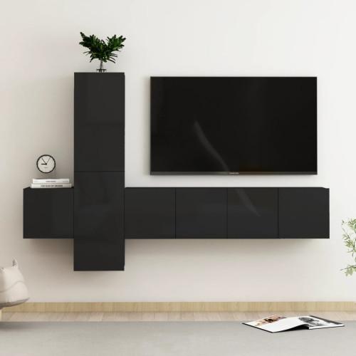 vidaXL TV-skåp 5 delar svart högglans spånskiva