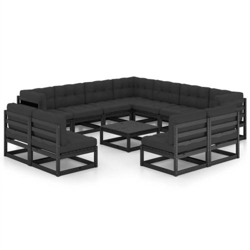 vidaXL Loungegrupp för trädgården med dynor 12 delar svart massiv furu